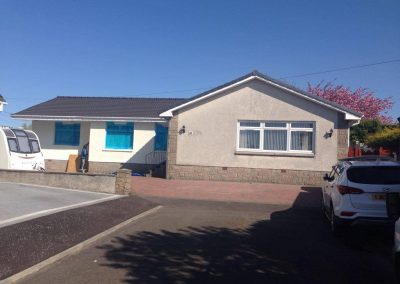 During wall coating in Airdrie, North Lanarkshire