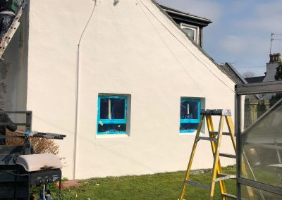during exterior wall coating
